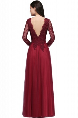 DYLAN | A-line V-neck Long Sleeves Lace Tulle Backless Prom Dresses_5