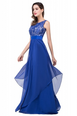 ADDISON | A-line Floor-length Chiffon Evening Dress with Lace_9