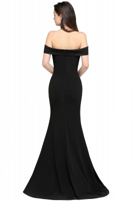 Mermaid Sweep Train Off The Shoulder Black Evening Dresses_2