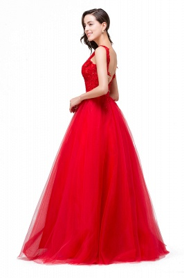 FIONA | A-Line Sleeveless Floor-Length Appliques Tulle Prom Dresses_8