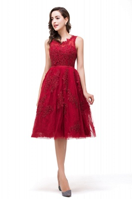 A-Line Knee-Length Red Lace Tull Prom Dresses with sequins_7