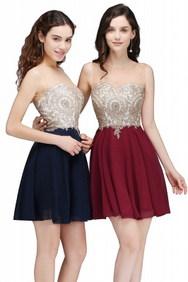 Sheath Jewel Chiffon Short Homecoming Party Dresses With Applique_8