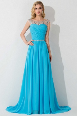 AIMEE | A-line Court Train Chiffon Party Dress With  Beading_3