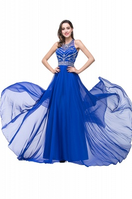 ELLA | A-line Crew Floor-length Sleeveless Tulle Prom Dresses with Crystal Beads_8