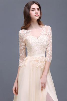 AUBREY | A-line Scoop Champagne Prom Dress With Sleeve_7
