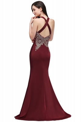 Mermaid Scalloped Floor-length Appliques Burgundy Prom Dresses with Beadings_4