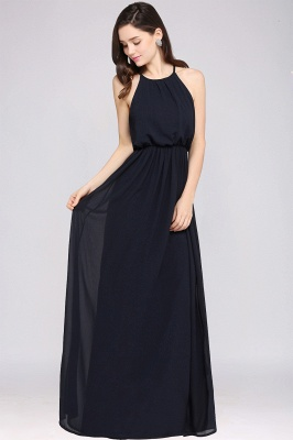 CHEYENNE | A-line Floor-length Chiffon Navy Blue Simple Prom Dress_13