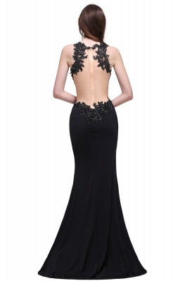Sheath Round Neck Floor-Length Black Prom Dresses With Crystal_3