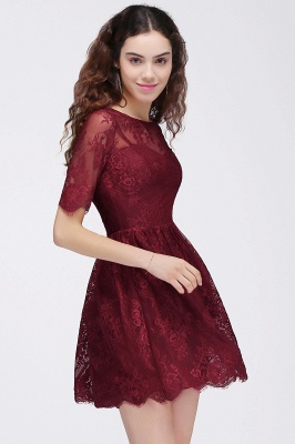 BRITTANY | A-Line Round Neck Short Lace Burgundy Homecoming Dresses_6
