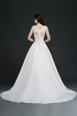 A-line Sweep Train Elegant Wedding Dress With Beading_3