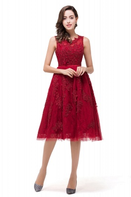 A-Line Knee-Length Red Lace Tull Prom Dresses with sequins