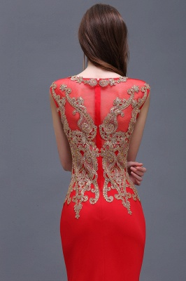 Sheath Round Neck Floor-Length Red Prom Dresses With Applique_4