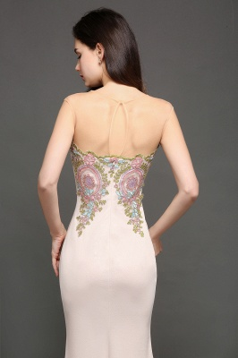 Mermaid Floor Length Pearl Pink Evening Dresses with Appliques_4