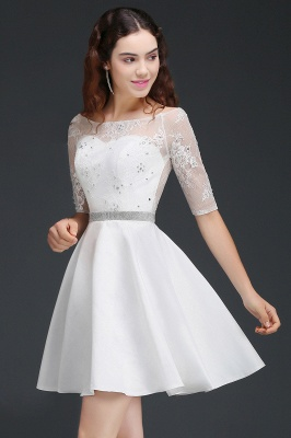 A Line Jewel White Short Sleeve Satin Homecoming Dresses With Lace_4