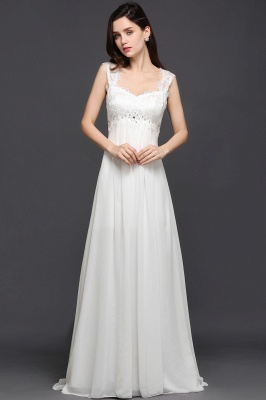 A-line Sweetheart Chiffon White Evening Dress With Lace_3