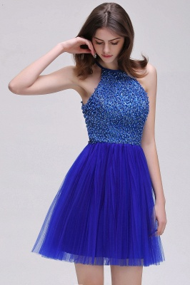 CAITLYN | A-line Halter Neck Short Tulle Royal Blue Homecoming Dresses with Beading_7