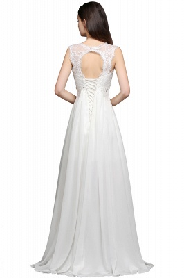 A-line Sweetheart Chiffon White Evening Dress With Lace_2
