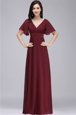 COLETTE | A-line Floor-length Chiffon Burgundy Prom Dress with Soft Pleats_1