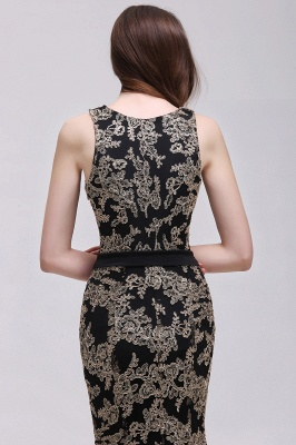 Sheath Round Neck Floor-Length Lace Evening Dresses_7