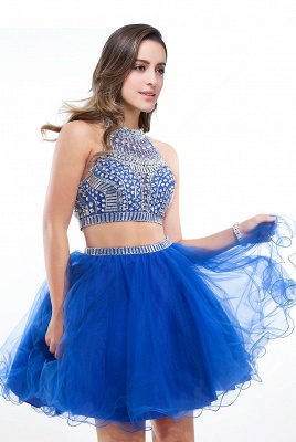 ELISE | Two-piece Halter Sleeveless Short Tulle Prom Dresses with Crystal Beads_2