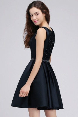 A-Line Round Neck Short Dark Navy Homecoming Dresses With Crystal_5