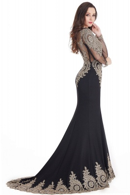 Crystal | Sexy Mermaid Lace Appliques Long Sleeves Prom Dresses with Beadings_12