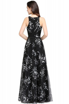 A-line Floor Length Black Evening Dresses with Flowers_8
