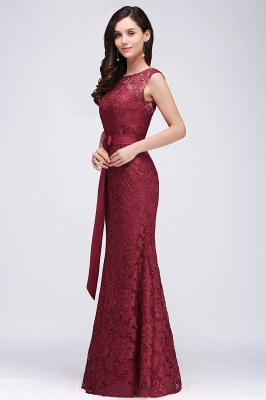 EDEN | Mermaid Sleeveless Floor-length Lace Prom Dresses with Ribbon Sash_4