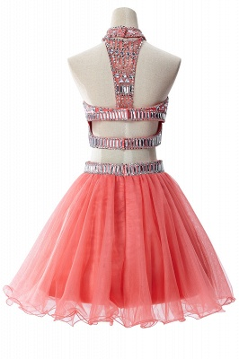 ELISE | Two-piece Halter Sleeveless Short Tulle Prom Dresses with Crystal Beads_9