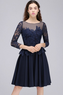 A-line Sheer Neck Short Dark Navy Homecoming Dresses with Lace Appliques_4