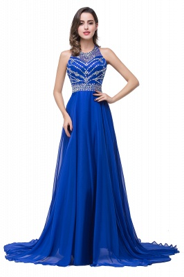 ELLA | A-line Crew Floor-length Sleeveless Tulle Prom Dresses with Crystal Beads_1