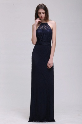 CHARLEE | Column Floor length Halter Navy blue Lace Prom Dress_3