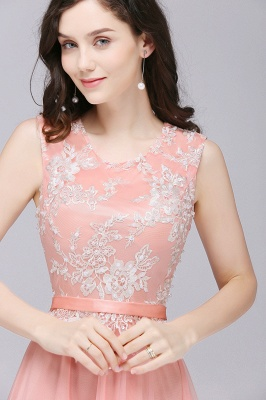 CARLY   A-line Jewel Neck Long Tulle Pink Prom Dresses with Sash_7