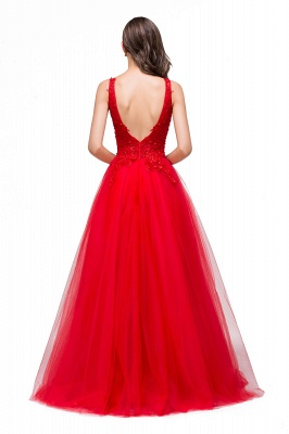 FIONA | A-Line Sleeveless Floor-Length Appliques Tulle Prom Dresses_3