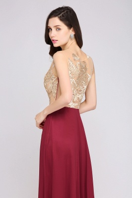 A-line Scoop Chiffon Burgundy Pretty Evening Dresses_7