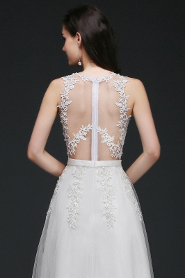 AMARI | A-Line Jewel Floor Length Tulle Wedding Dresses with Lace_6