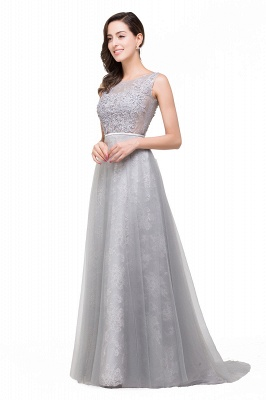 A-Line Sleeveless Illusion Floor-Length Tulle Prom Dresses with Embroidered Flowers_5