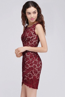 BRILEY | Bodycon Round Neck Short Lace Burgundy Homecoming Dresses_5