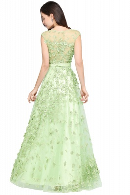 A-line Floor Length Tulle Green Prom Dresses with Appliques_3