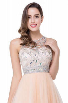 ELISA | A-line Crew Sleeveless Tulle Short Prom Dresses with Beadings_9