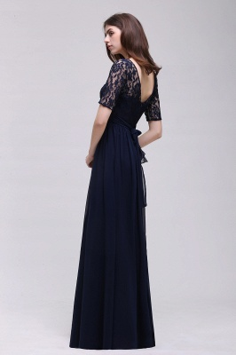 AUBRIELLE | A-line Scoop Chiffon Elegant Prom Dress With Lace_11