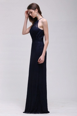 CHARLEE | Column Floor length Halter Navy blue Lace Prom Dress_9