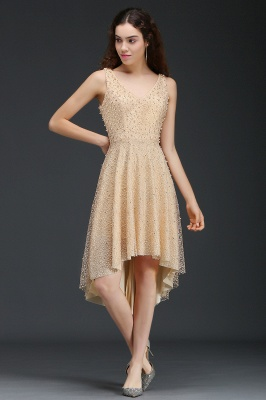 A-line Hi-Lo Popular Homecoming Dress With Pearls_3