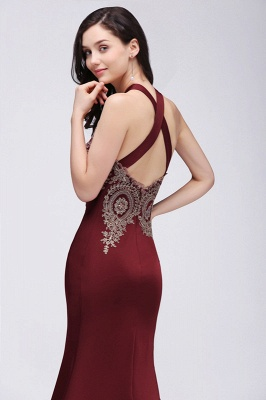 Mermaid Scalloped Floor-length Appliques Burgundy Prom Dresses with Beadings_5