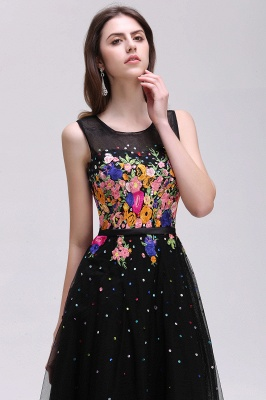 A-line Jewel Neck Tulle Black Prom Dresses with Embroidery Flowers_5