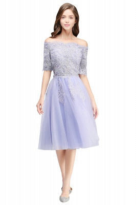 A-line Bateau Tulle Prom Dress with Appliques_6