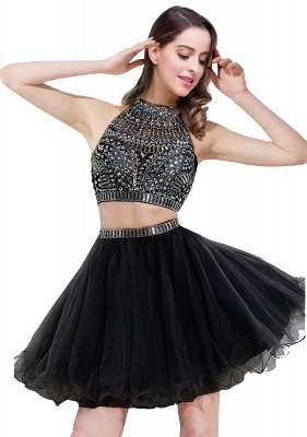ELISE | Two-piece Halter Sleeveless Short Tulle Prom Dresses with Crystal Beads_3
