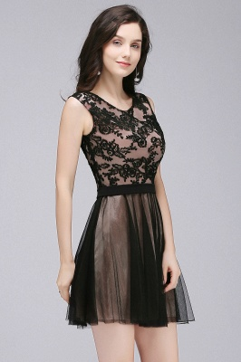 ELEANOR | A-line Crew Short Sleeveless Tulle Lace Appliques Prom Dresses_7