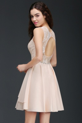 A-line Short Cute Homecoming Dress With Lace_5