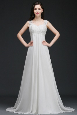 A-Line Sweep Trains Glamorous Wedding Dresses with Lace